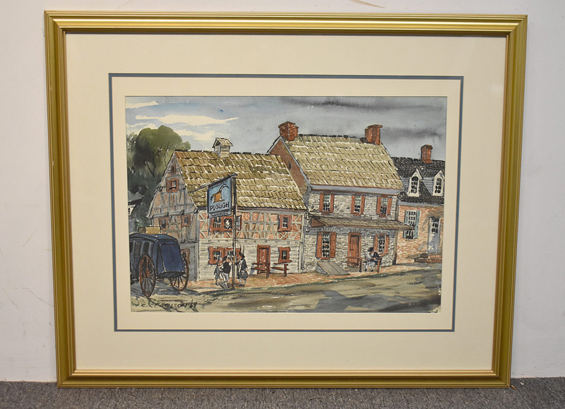 165. Charles Carlson. Watercolor, Colonial Landscape |  $295