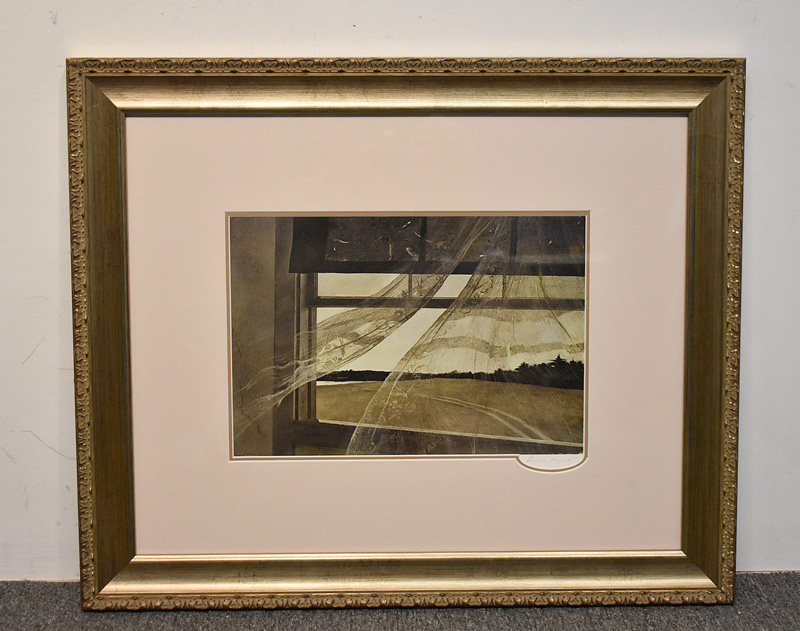 "173. Andrew Wyeth Signed Print, ""Wind From the Sea\"" 