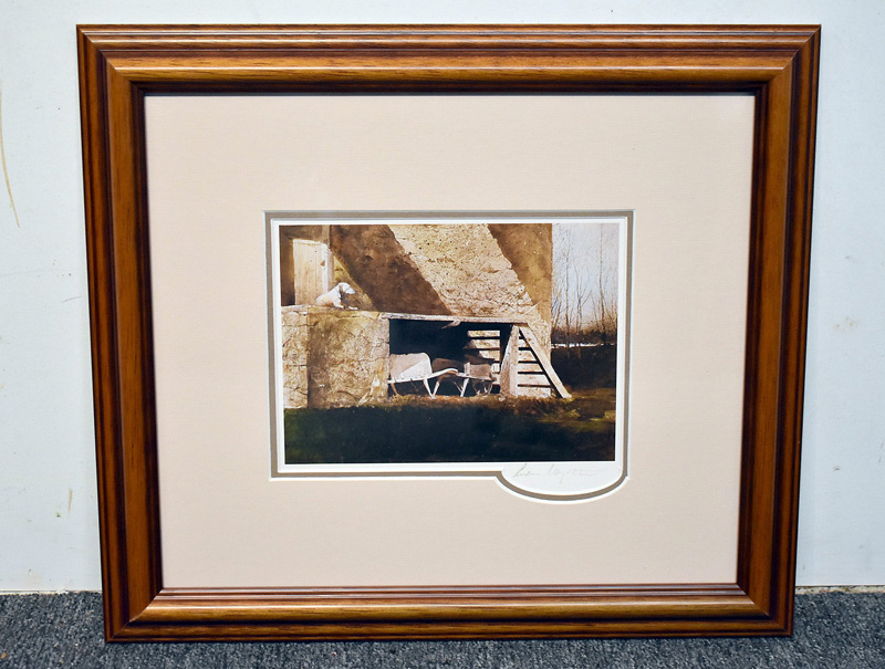 "179. Signed Andrew Wyeth Print, ""Grist Mill\"" 