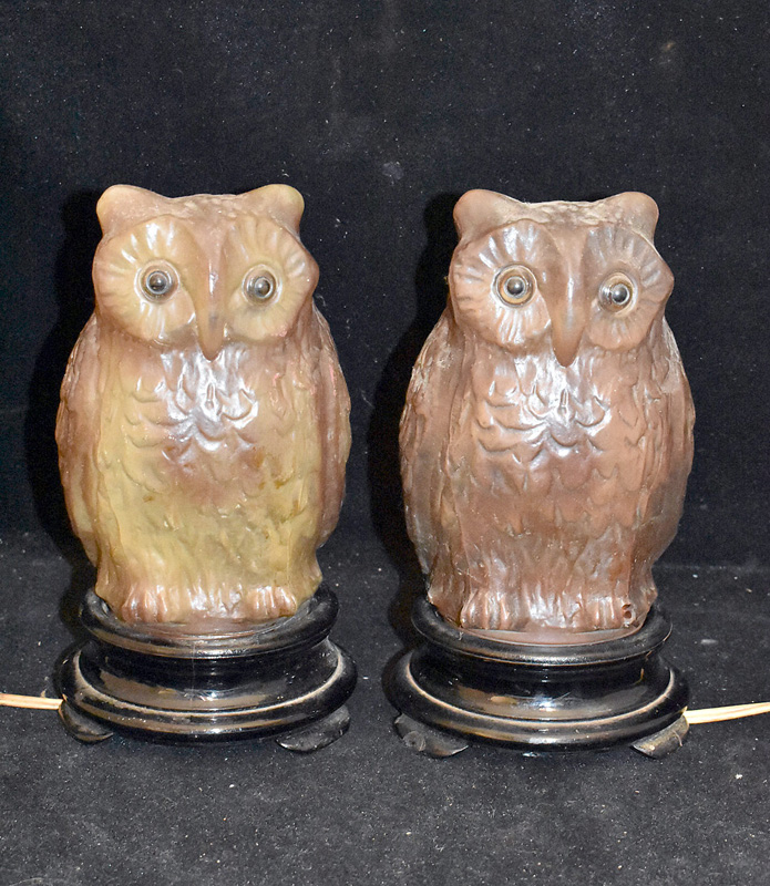 196. Pair of Owl-form Glass Lamps, circa 1920s |  $206.50