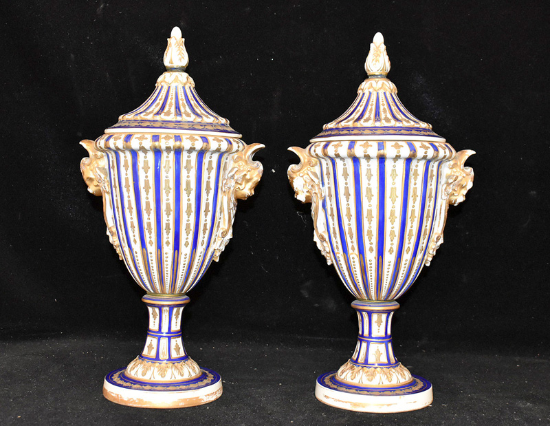 203A. Pair of Sèvres Porcelain Urn Vases with Covers |  $522.75