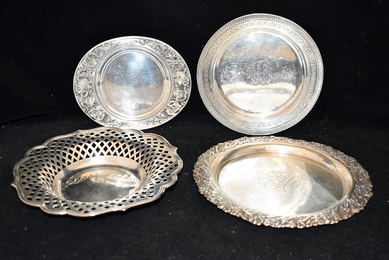 206D. Four Sterling Silver Trays/Dishes |  $383.50