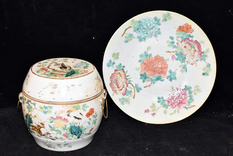 215. Chinese Export Cache Pot & Famille Rose Charger |  $531