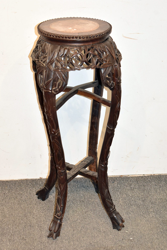 220. Chinese Bamboo Carved Rosewood Fern Stand |  $86.10