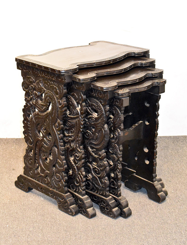 221. Chinese Ebonized and Carved Nest of Four Tables |  $82.60