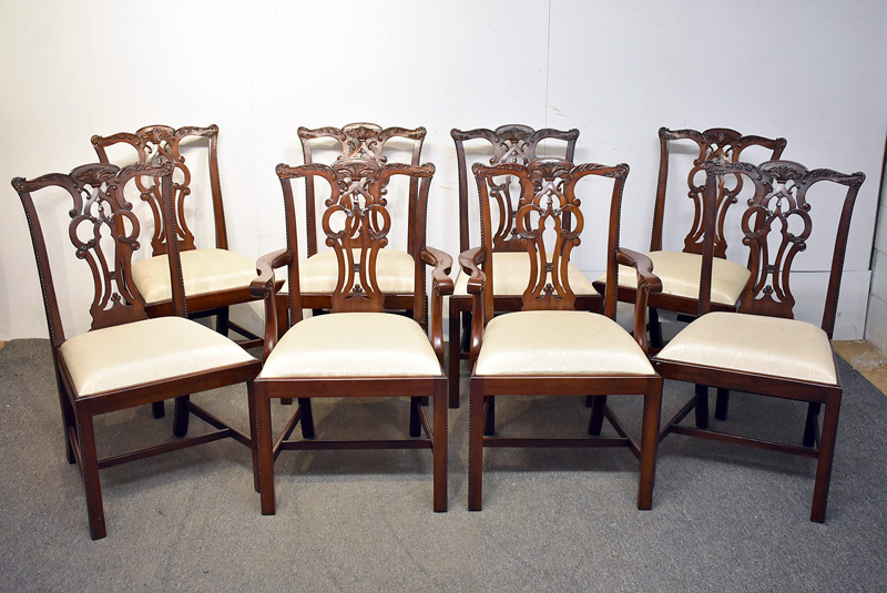 225. Eight Maitland Smith Chippendale-style Chairs |  $1,652