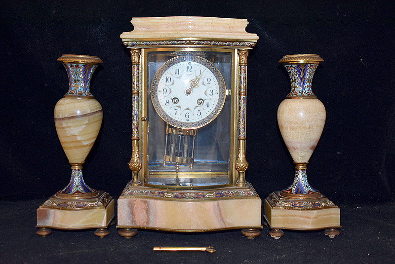 3. Samuel Marti (Paris) 3-Piece Clock Garniture Set |  $531