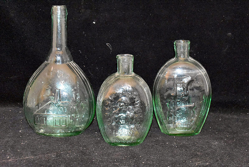 6. Three Aquamarine Glass Flask Bottles |  $123