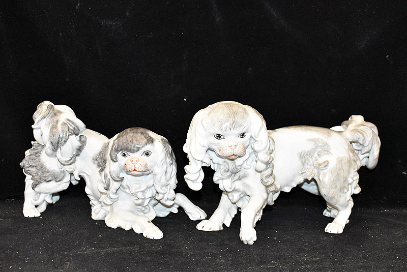 14. Pair of Dresden Porcelain Pekingese Dog Figurines |  $708