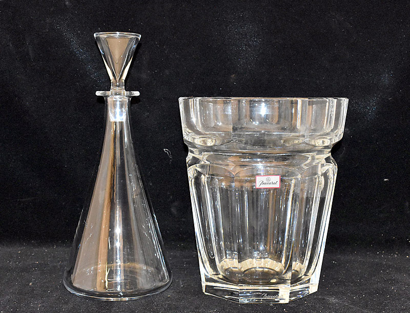 33. Baccarat (France) Crystal Ice Bucket & Decanter |  $236