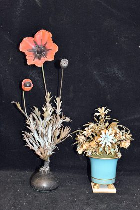38. Two French Enameled Metal Floral Arrangements |  $153.75