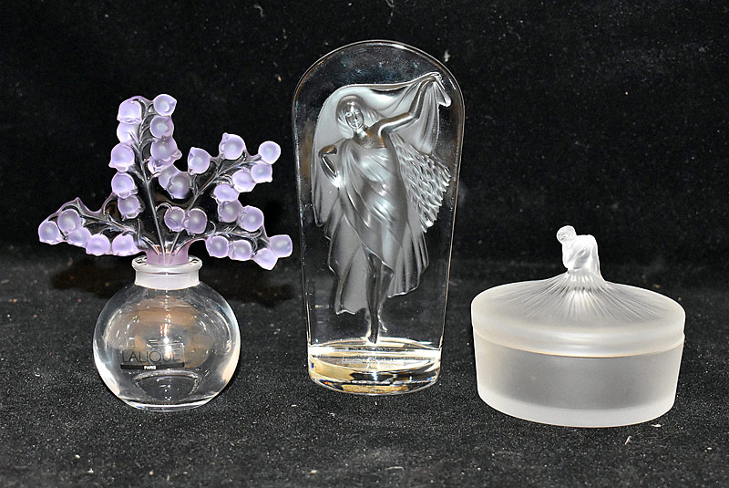 47. Lalique Art Glass Box; Perfume Bottle; Sculpture |  $399.75
