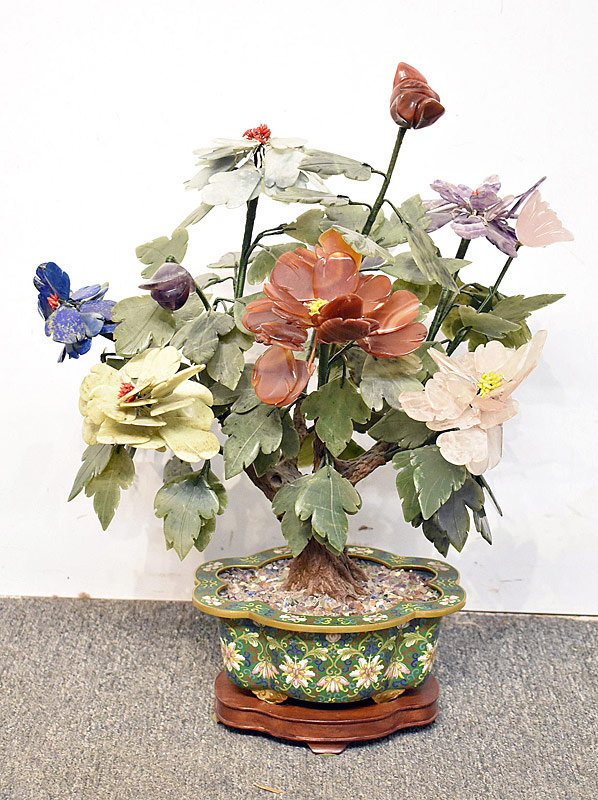 54. Carved Hardstone Tree in Cloisonne Base |  $767