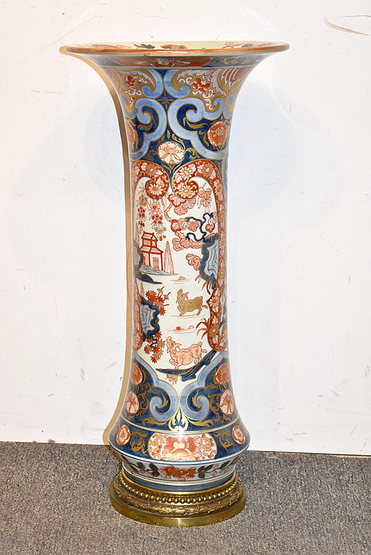 55. Japanese Imari Floor Vase with Bronze Base |  $295