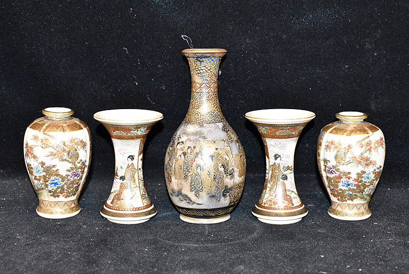 58. Five Japanese Miniature Satsuma Vases |  $106.20