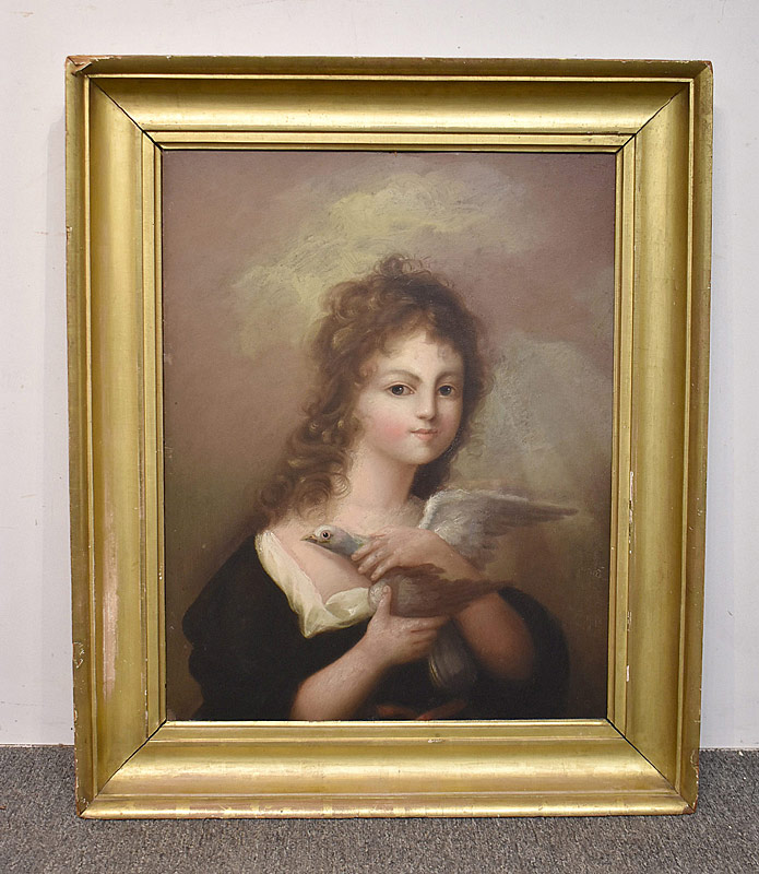 69. Attrb. Henry Williams. Oil/Panel, Girl with Dove |  $369