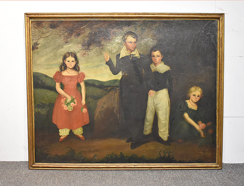 70. 19th C. Folk Art Oil/Canvas, Portrait of Children |  $307.50