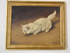 71. Unsigned. Oil/Masonite Panel, Cat with Fly |  $430.50