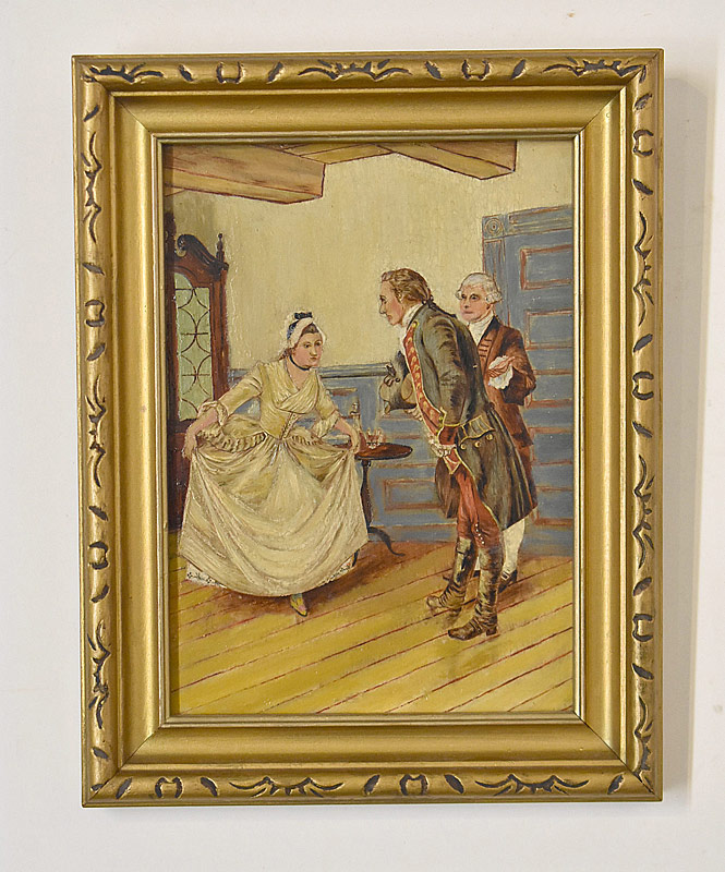 75. Unsigned. Miniature Oil/Panel, Courting Scene |  $61.50