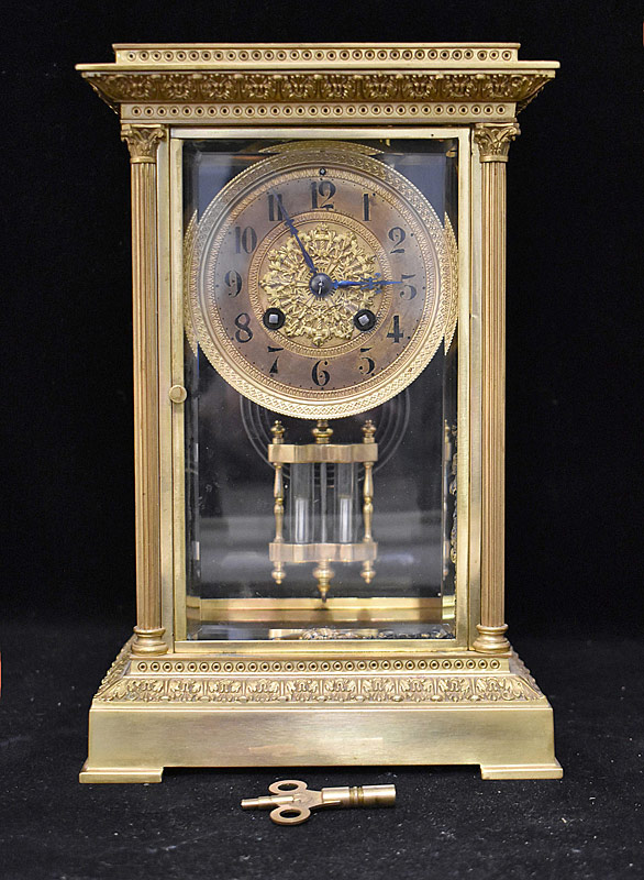 85. Theo. Starr French Bronze Crystal Regulator Clock |  $430.50