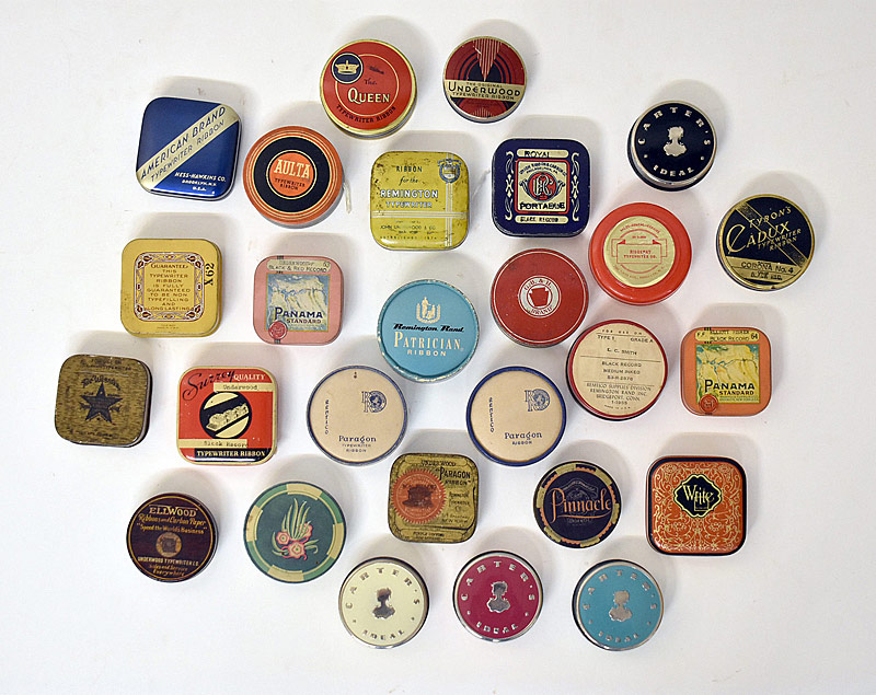 90. 27 Assorted Typewriter Ribbon Tins |  $123