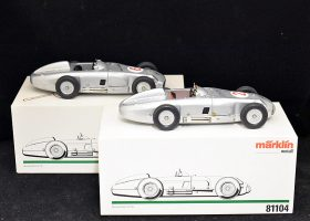 94. 2 Boxed Marklin Tin Wind-up Mercedes W 196 Models |  $147.50