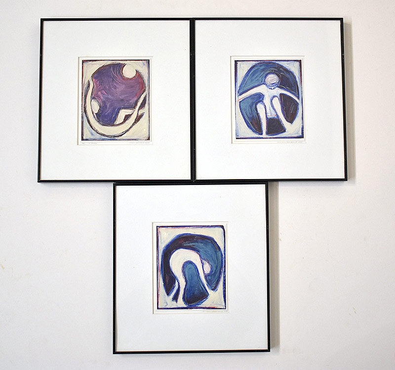 98. Susan Johnson. Three Figural Oil Stick Drawings |  $73.80