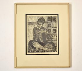99. Ruth Leaf. Woodcut, Flute Player |  $23.60