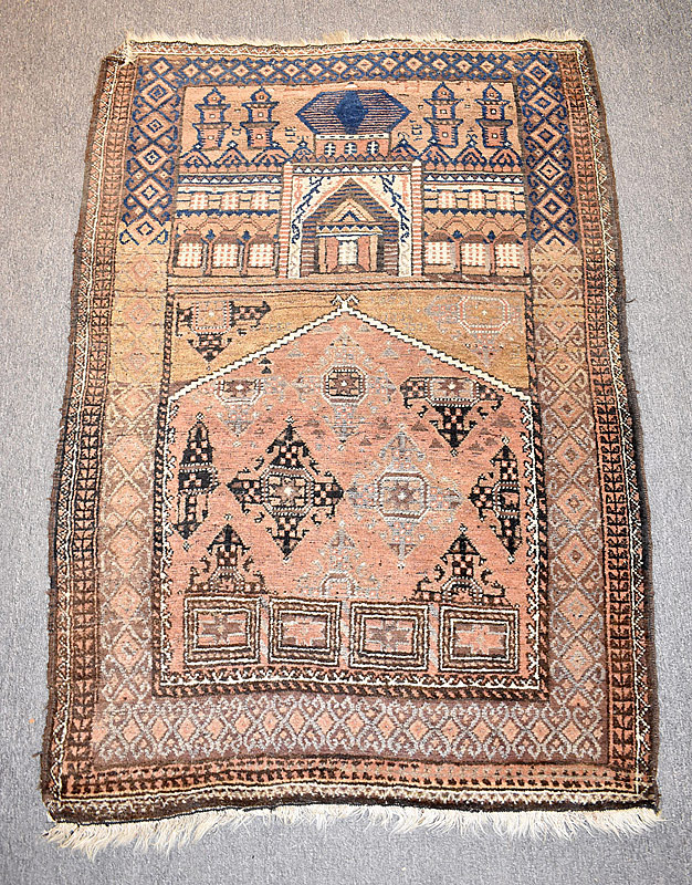 116. Caucasian Prayer Carpet, 5ft 3in x 3ft 6in |  $118