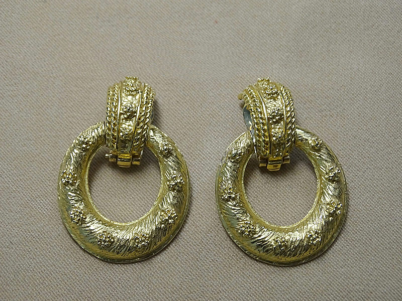 136. Pair of 18K Yellow Gold Drop Hoop Earrings |  $767