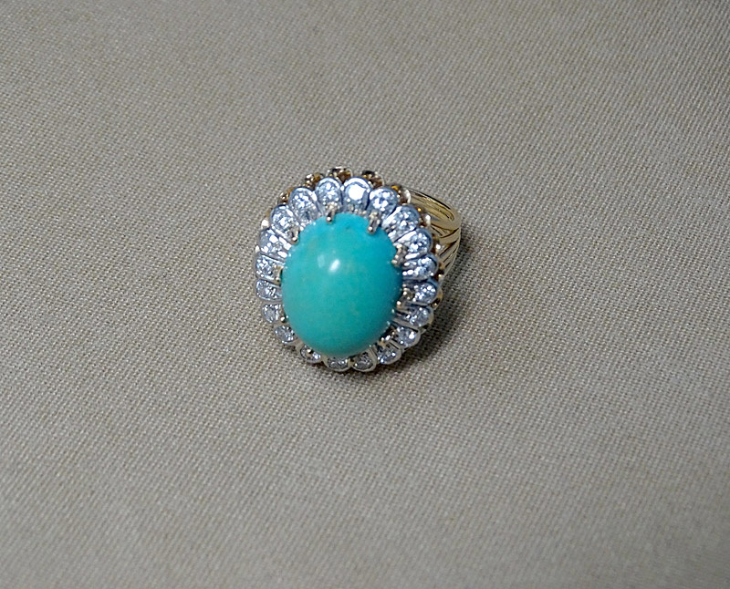 138. Turquoise and Diamond Cocktail Ring |  $590