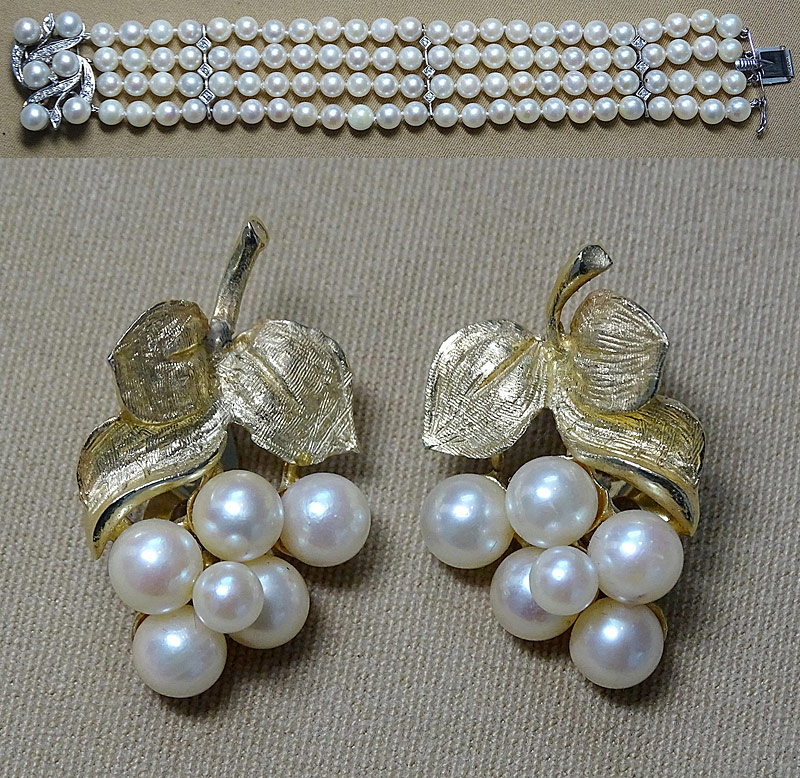 147. Four-Strand Pearl Bracelet & Pr. Pearl Earrings |  $413