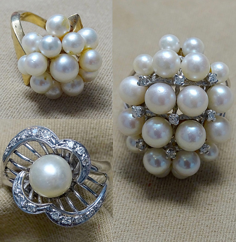 149. Three Pearl and Diamond Rings in 14K Settings |  $413