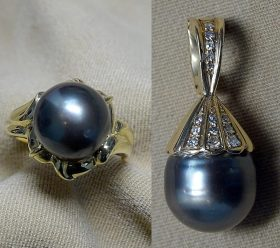 150. Black Pearl Ring and Enhancer in 14K Yellow Gold |  $354