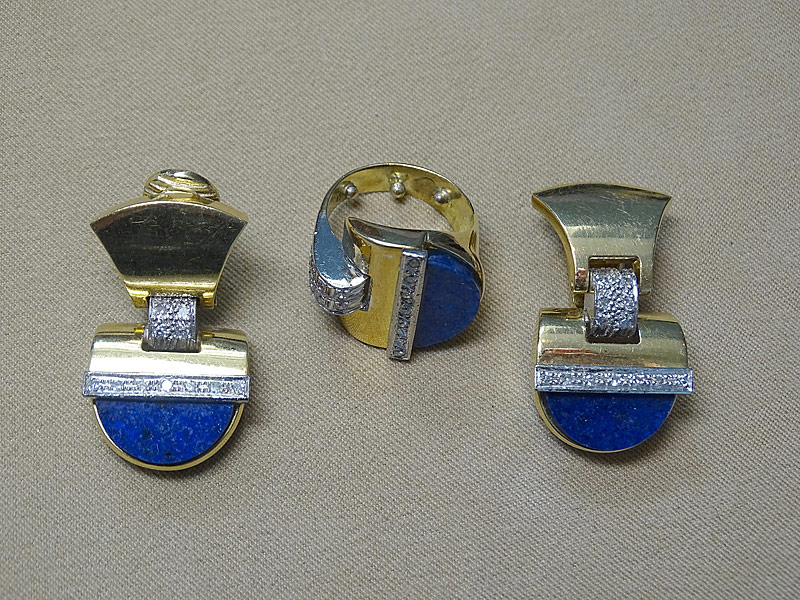 155. Lapis & Diamond Ring/Earrings Suite in 18K YG |  $1,003