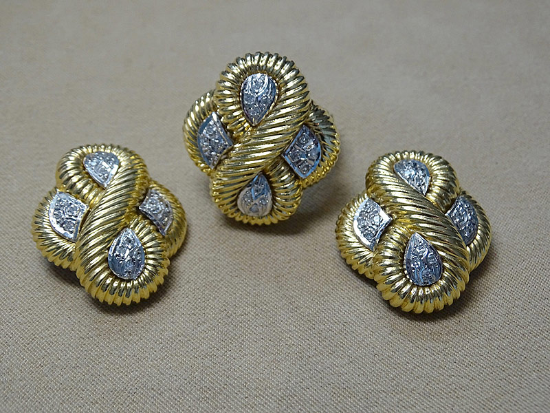 156. Diamond Ring & Earrings Suite in 18K YG |  $1,298