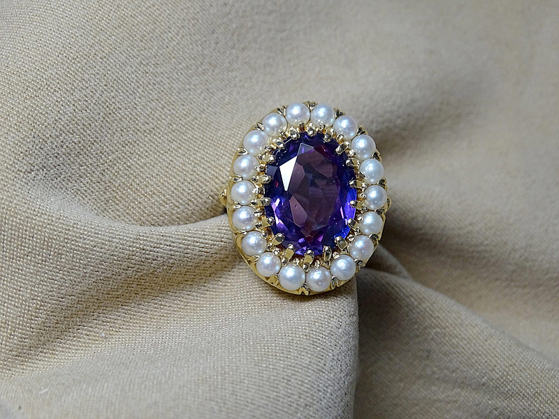 157. Amethyst and Pearl Ring in 14K Yellow Gold |  $338.25