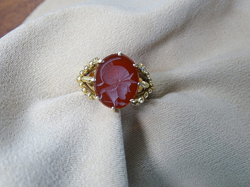 160. Ornate Sard Intaglio Ring in 18K Yellow Gold |  $295