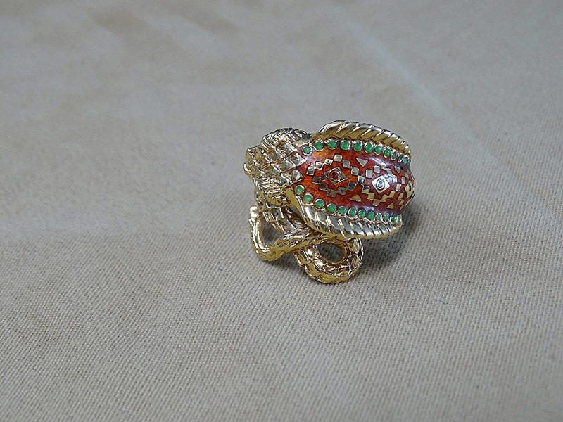 161. Enameled 18K Yellow Gold Snake Ring |  $324.50