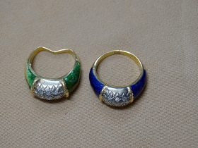 163. Two 18K Yellow Gold Diamond and Enamel Rings |  $442.50