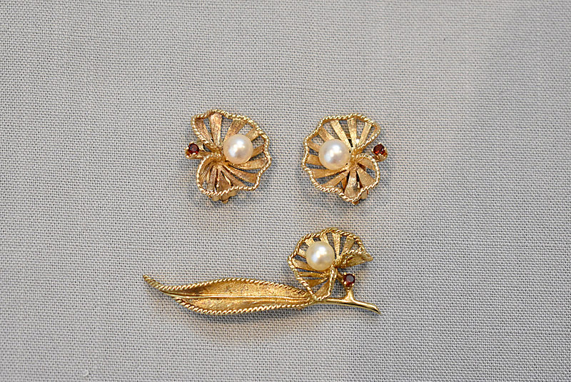 176. Garnet & Pearl Leaf Pin &Earrings in 14K YG |  $295