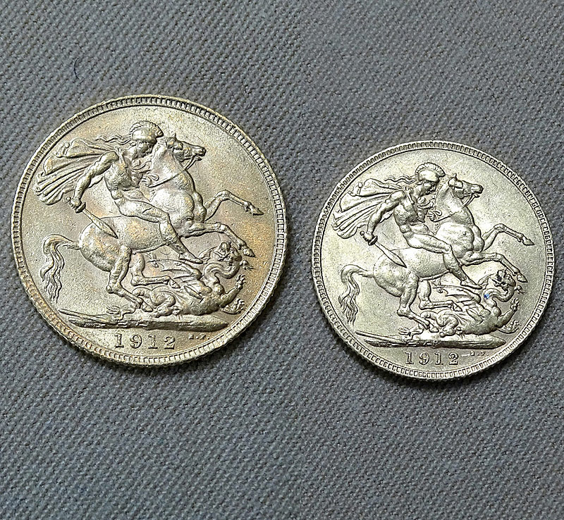 189. 2 1912 Great Britain George V Gold Sovereigns    $531
