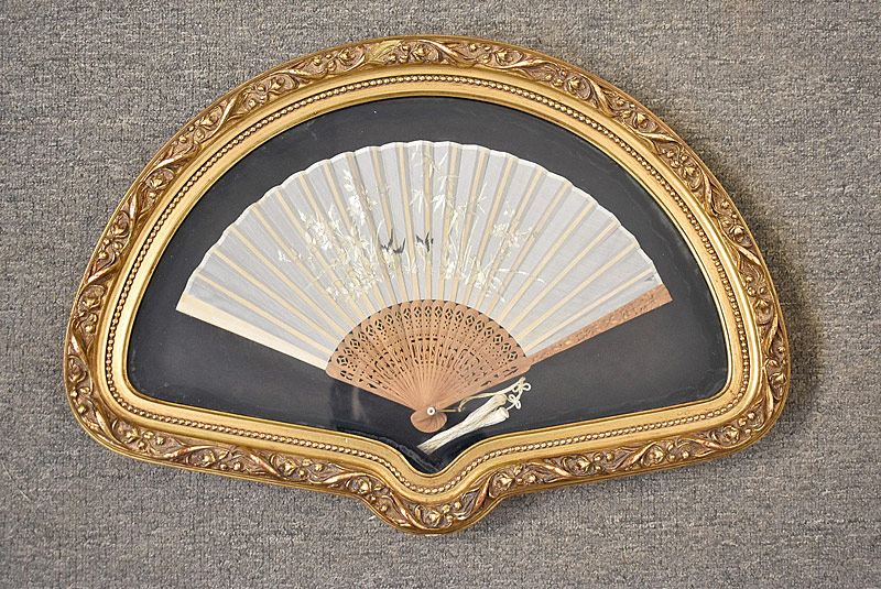 193. Frmd. Silk Embroidered Fan, Wood Handle |  $49.20