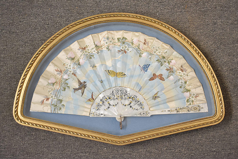 197. Frmd. Hand-painted Silk Fan with Bird & Butterflies |  $184.50