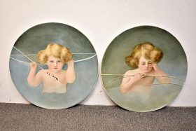 198. Pair of Limoges Porcelain Chargers with Cherubs |  $123