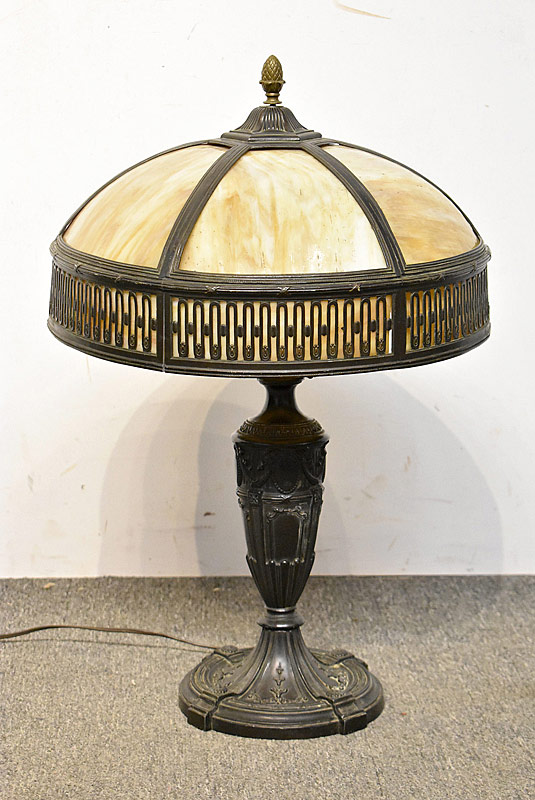 202. Arts & Crafts Table Lamp with Slag Glass Shade |  $123