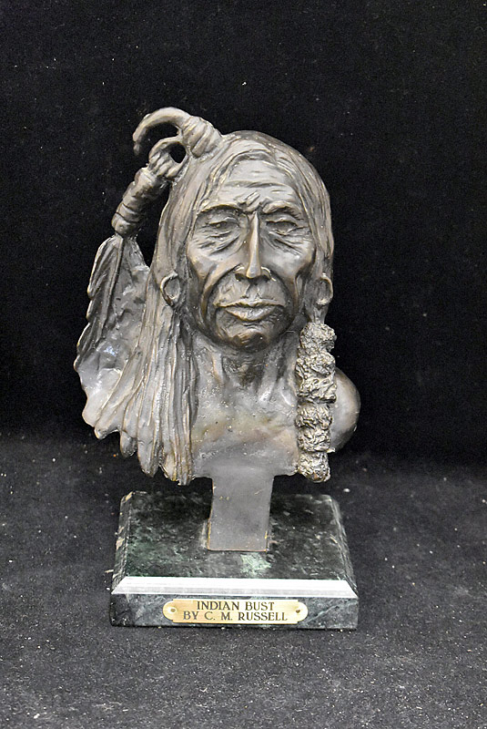 203. Aftr C.M. Russell. Bronze Sculpture, Indian Bust |  $215.25