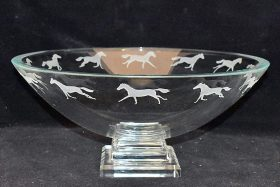 213. Lrg. Art Glass Compote with Etched Running Horses |  $70.80