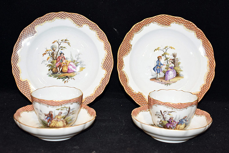 216. Pair of Meissen Porcelain Trios |  $338.25
