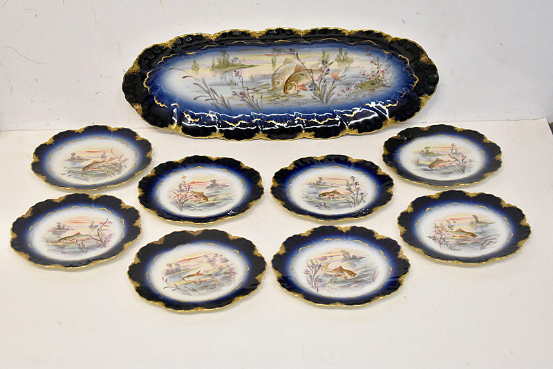 218. Limoges Porcelain 9-Piece Fish Service |  $147.50